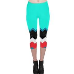 Pattern Digital Painting Lines Art Capri Leggings