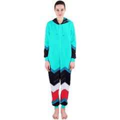 Pattern Digital Painting Lines Art Hooded Jumpsuit (Ladies)