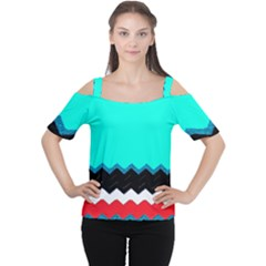 Pattern Digital Painting Lines Art Women s Cutout Shoulder Tee