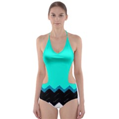 Pattern Digital Painting Lines Art Cut Out One Piece Swimsuit