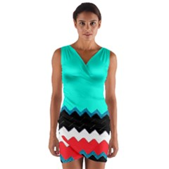Pattern Digital Painting Lines Art Wrap Front Bodycon Dress