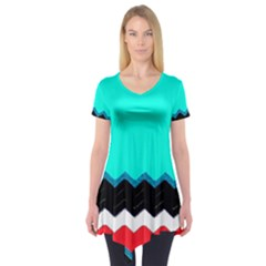 Pattern Digital Painting Lines Art Short Sleeve Tunic