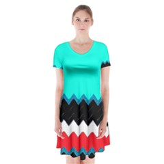 Pattern Digital Painting Lines Art Short Sleeve V-neck Flare Dress