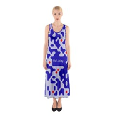 Digital Computer Graphic Qr Code Is Encrypted With The Inscription Sleeveless Maxi Dress