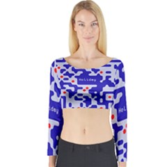 Digital Computer Graphic Qr Code Is Encrypted With The Inscription Long Sleeve Crop Top
