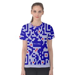 Digital Computer Graphic Qr Code Is Encrypted With The Inscription Women s Cotton Tee