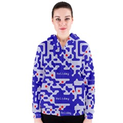 Digital Computer Graphic Qr Code Is Encrypted With The Inscription Women s Zipper Hoodie