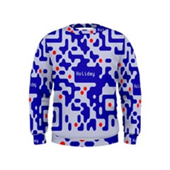 Digital Computer Graphic Qr Code Is Encrypted With The Inscription Kids  Sweatshirt