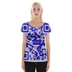 Digital Computer Graphic Qr Code Is Encrypted With The Inscription Women s Cap Sleeve Top