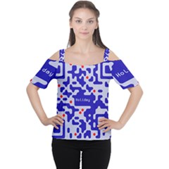 Digital Computer Graphic Qr Code Is Encrypted With The Inscription Women s Cutout Shoulder Tee