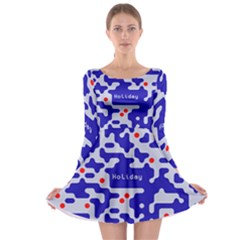 Digital Computer Graphic Qr Code Is Encrypted With The Inscription Long Sleeve Skater Dress