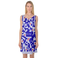 Digital Computer Graphic Qr Code Is Encrypted With The Inscription Sleeveless Satin Nightdress