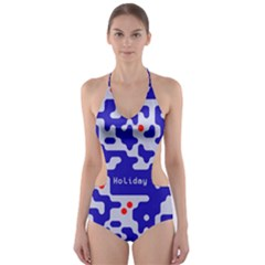 Digital Computer Graphic Qr Code Is Encrypted With The Inscription Cut-Out One Piece Swimsuit