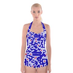 Digital Computer Graphic Qr Code Is Encrypted With The Inscription Boyleg Halter Swimsuit