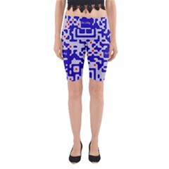 Digital Computer Graphic Qr Code Is Encrypted With The Inscription Yoga Cropped Leggings