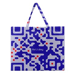 Digital Computer Graphic Qr Code Is Encrypted With The Inscription Zipper Large Tote Bag