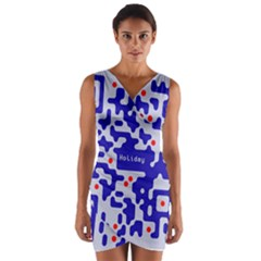 Digital Computer Graphic Qr Code Is Encrypted With The Inscription Wrap Front Bodycon Dress