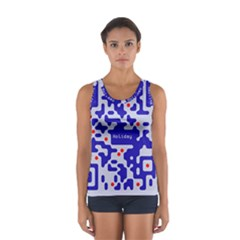 Digital Computer Graphic Qr Code Is Encrypted With The Inscription Women s Sport Tank Top