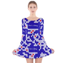 Digital Computer Graphic Qr Code Is Encrypted With The Inscription Long Sleeve Velvet Skater Dress