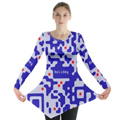 Digital Computer Graphic Qr Code Is Encrypted With The Inscription Long Sleeve Tunic
