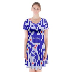 Digital Computer Graphic Qr Code Is Encrypted With The Inscription Short Sleeve V Neck Flare Dress
