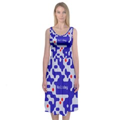 Digital Computer Graphic Qr Code Is Encrypted With The Inscription Midi Sleeveless Dress