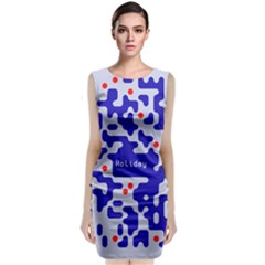 Digital Computer Graphic Qr Code Is Encrypted With The Inscription Classic Sleeveless Midi Dress