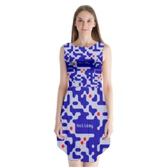 Digital Computer Graphic Qr Code Is Encrypted With The Inscription Sleeveless Chiffon Dress
