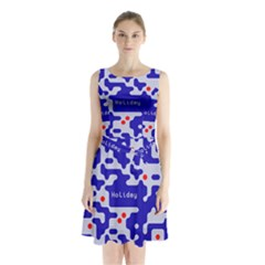 Digital Computer Graphic Qr Code Is Encrypted With The Inscription Sleeveless Chiffon Waist Tie Dress