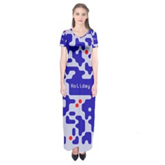 Digital Computer Graphic Qr Code Is Encrypted With The Inscription Short Sleeve Maxi Dress