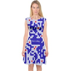 Digital Computer Graphic Qr Code Is Encrypted With The Inscription Capsleeve Midi Dress