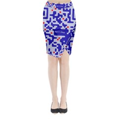 Digital Computer Graphic Qr Code Is Encrypted With The Inscription Midi Wrap Pencil Skirt