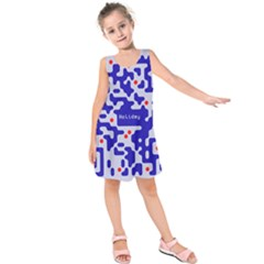 Digital Computer Graphic Qr Code Is Encrypted With The Inscription Kids  Sleeveless Dress