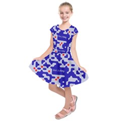 Digital Computer Graphic Qr Code Is Encrypted With The Inscription Kids  Short Sleeve Dress