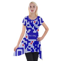 Digital Computer Graphic Qr Code Is Encrypted With The Inscription Short Sleeve Side Drop Tunic