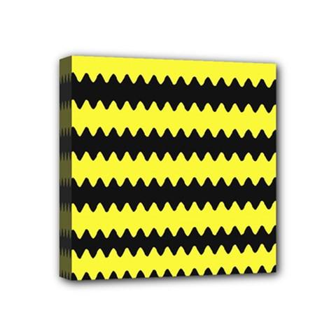 Yellow Black Chevron Wave Mini Canvas 4  X 4