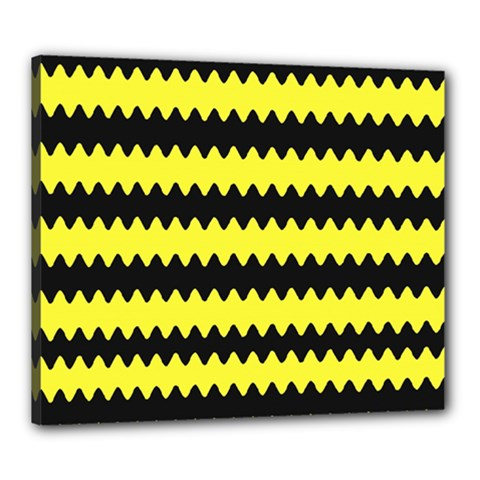 Yellow Black Chevron Wave Canvas 24  X 20
