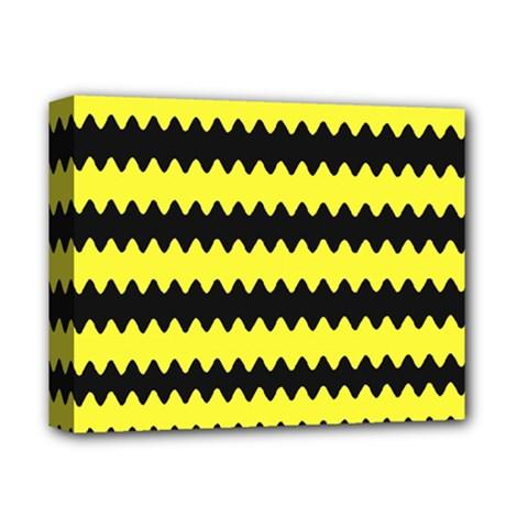 Yellow Black Chevron Wave Deluxe Canvas 14  X 11