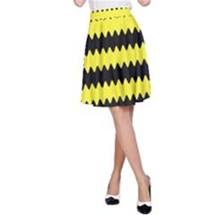 Yellow Black Chevron Wave A Line Skirt