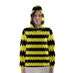 Yellow Black Chevron Wave Hooded Wind Breaker (women)