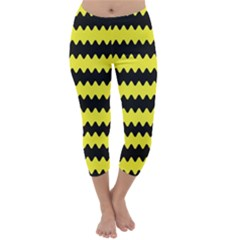 Yellow Black Chevron Wave Capri Winter Leggings