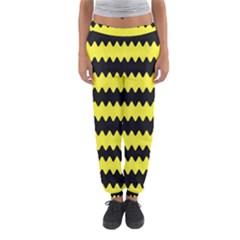 Yellow Black Chevron Wave Women s Jogger Sweatpants