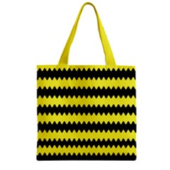 Yellow Black Chevron Wave Zipper Grocery Tote Bag