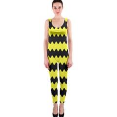 Yellow Black Chevron Wave Onepiece Catsuit