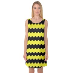 Yellow Black Chevron Wave Sleeveless Satin Nightdress