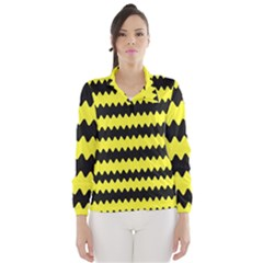 Yellow Black Chevron Wave Wind Breaker (Women)