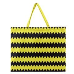 Yellow Black Chevron Wave Zipper Large Tote Bag