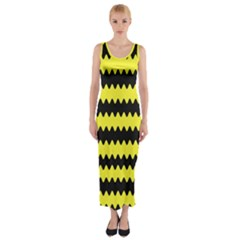 Yellow Black Chevron Wave Fitted Maxi Dress