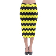 Yellow Black Chevron Wave Midi Pencil Skirt