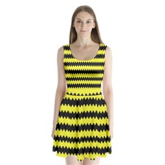 Yellow Black Chevron Wave Split Back Mini Dress